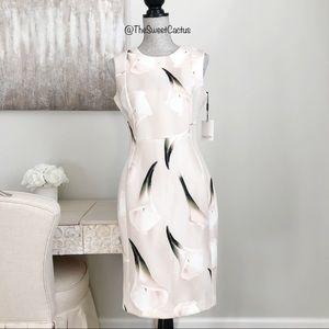 Calvin Klein Beige and White Floral Sheath Dress